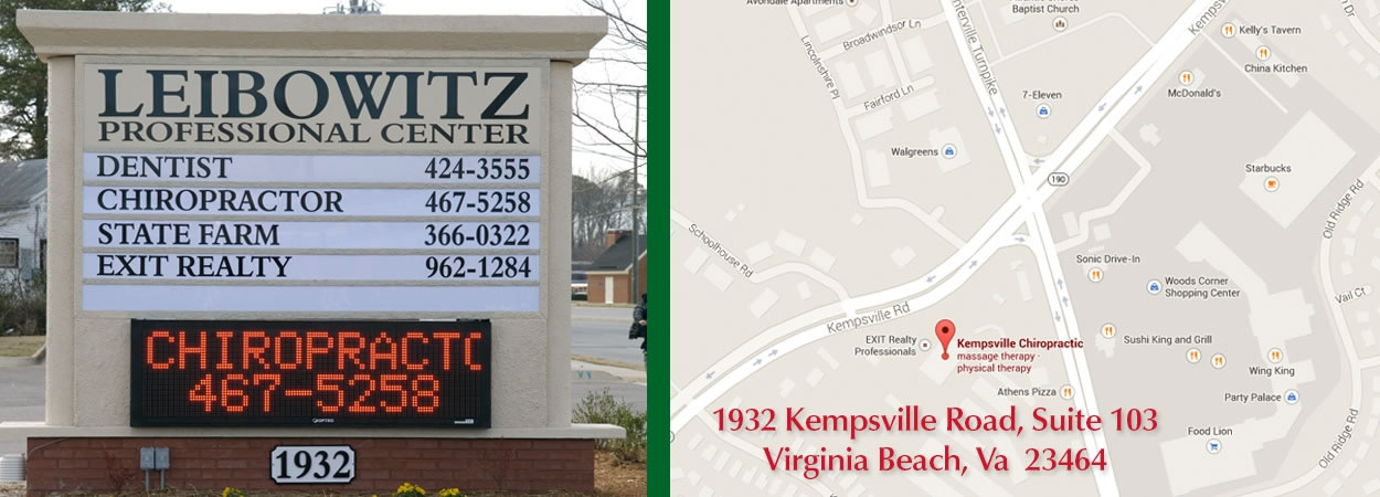 Main Sign For Kempsville Chiropractors in Chesapeake Virginia