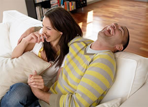 Couple Laughing After Receiving Stress Chiropractic Care